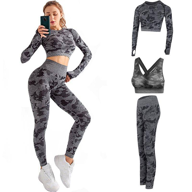 RUUHEE Women Yoga Set Camouflage Seamless Long Sleeve High Waist Leggings and Bra Workout Sportwears 2 Piece Gym Suit Female